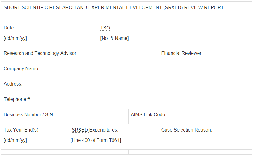 6.3 Short SR&ED Review Report Template